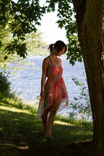 pink trees woman window nature water evening model dress bare redhead barefoot redhair pinkdress daugava