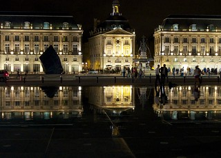 Place de la Bourse 의 이미지. france reflection night time bordeaux culture places urbanscape placedelabourse imagetype