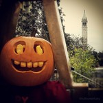 #CALoween by @tufthunterfusty of the decorated Tau Beta Pi 'Bent' between Bechtel and McLaughlin. #ucberkeley #campanile #sathertower #taubetapi