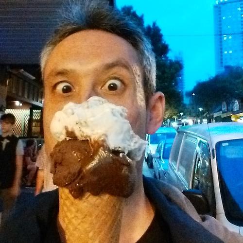 Daniel enjoys a gelato