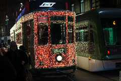 Festively decorated trams in Milan