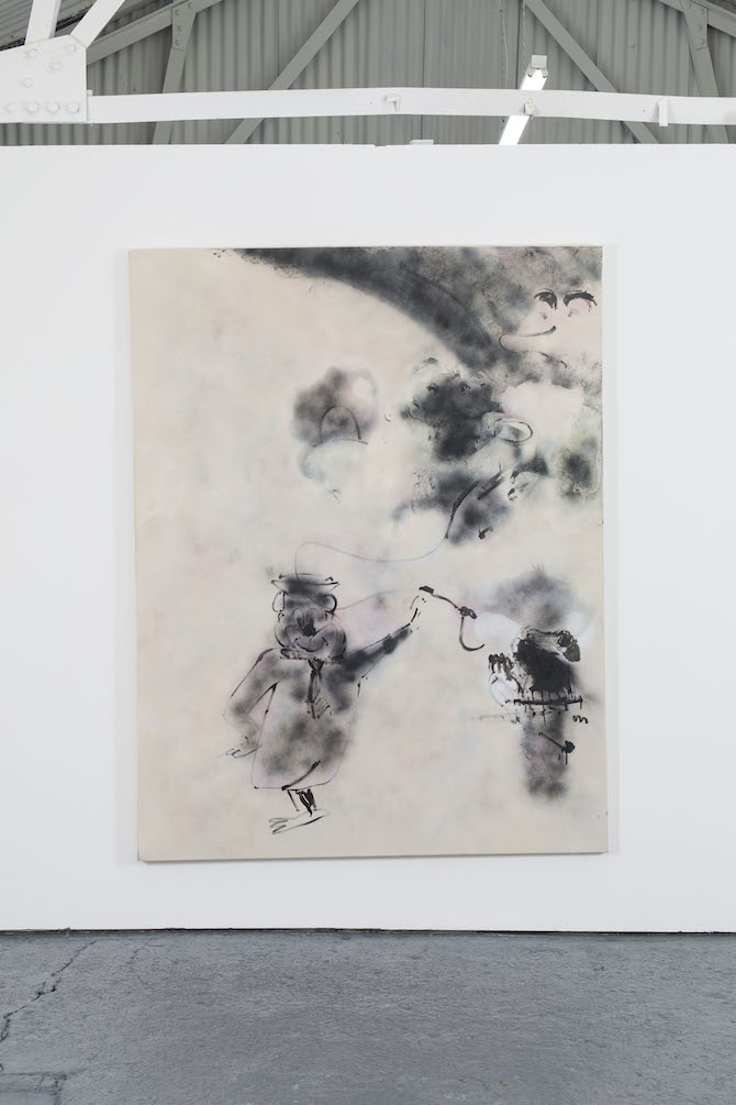Robin von Einsiedel, Yogi beige, 2014, 207cm x 161cm, Spray Paint and Bitumen on Canvas. Courtesy Oscar Proctor