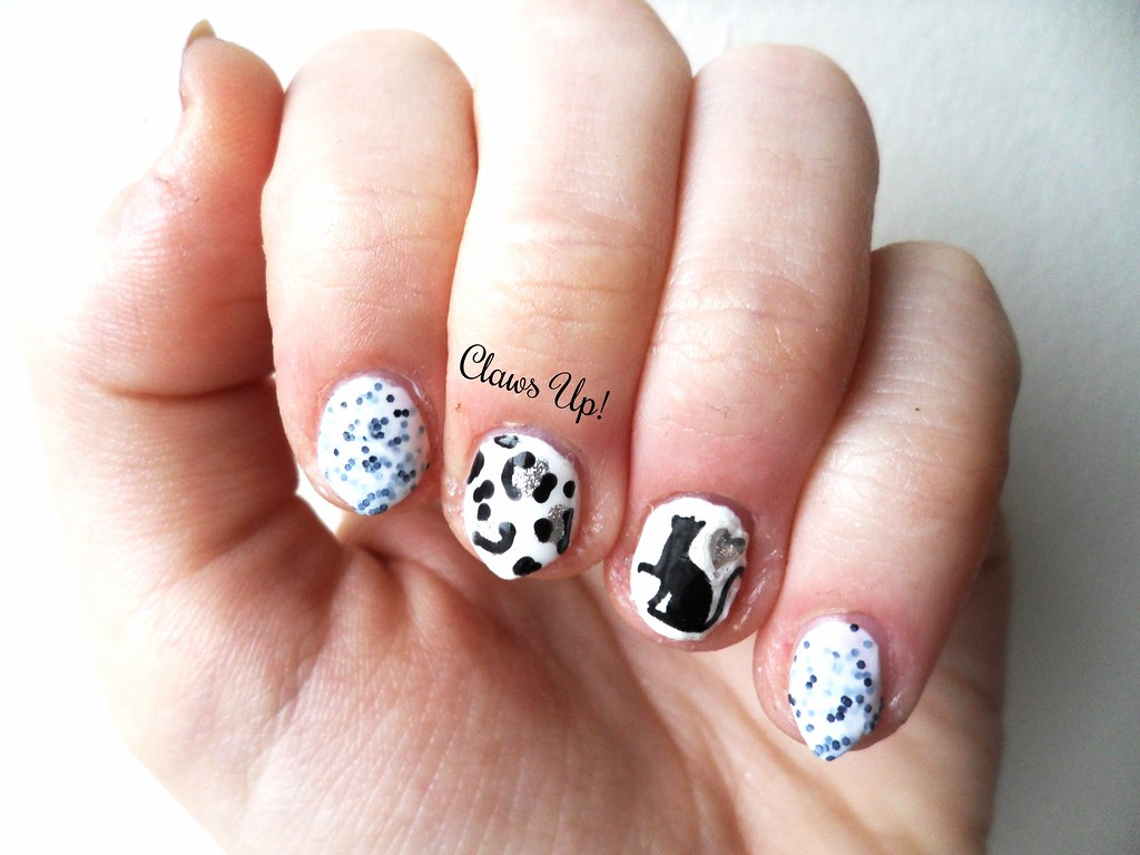 Black and white cat nail art with Deborah Lippmann Polka Dots and Moon Beams