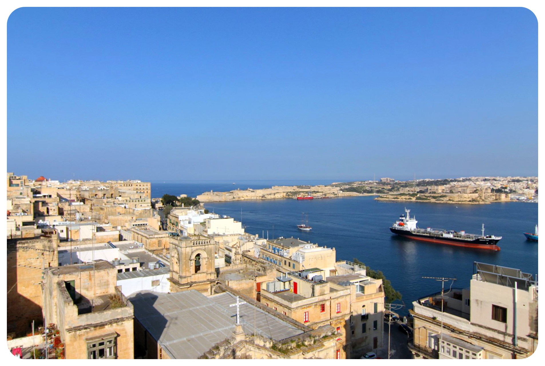 views over valletta and the port