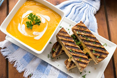 Roasted Butternut Garlic Bisque with Grilled 3-Che…