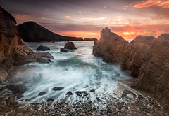 Soberanes Sunset with Rough Sea - Big Sur, CA