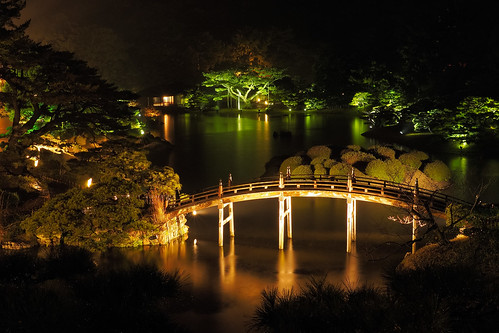 bridge reflection tree japan night 日本 kagawa 松 栗林公園 香川 ritsuringarden