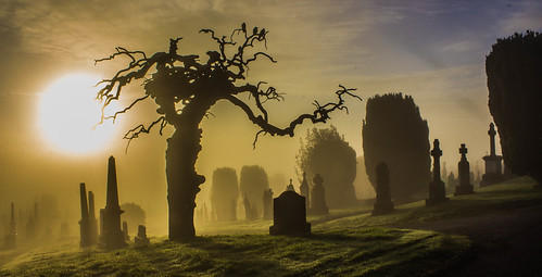 city ireland cemetery fog sunrise spooky derry