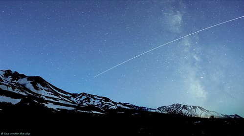 ISS trail across the Milky Way at Tokachidake