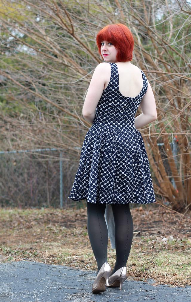 Holiday Outfit Blue Lattice Print Dress Rhinestone Back