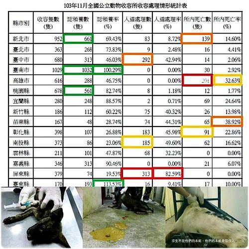 「哀」自己的城市,請自己監督!103年11月全國公立動物收容所收容處理情形統計表,請認養代替購買,謝謝您~20150106