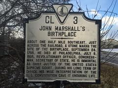 John Marshall's Birthplace Historical Marker