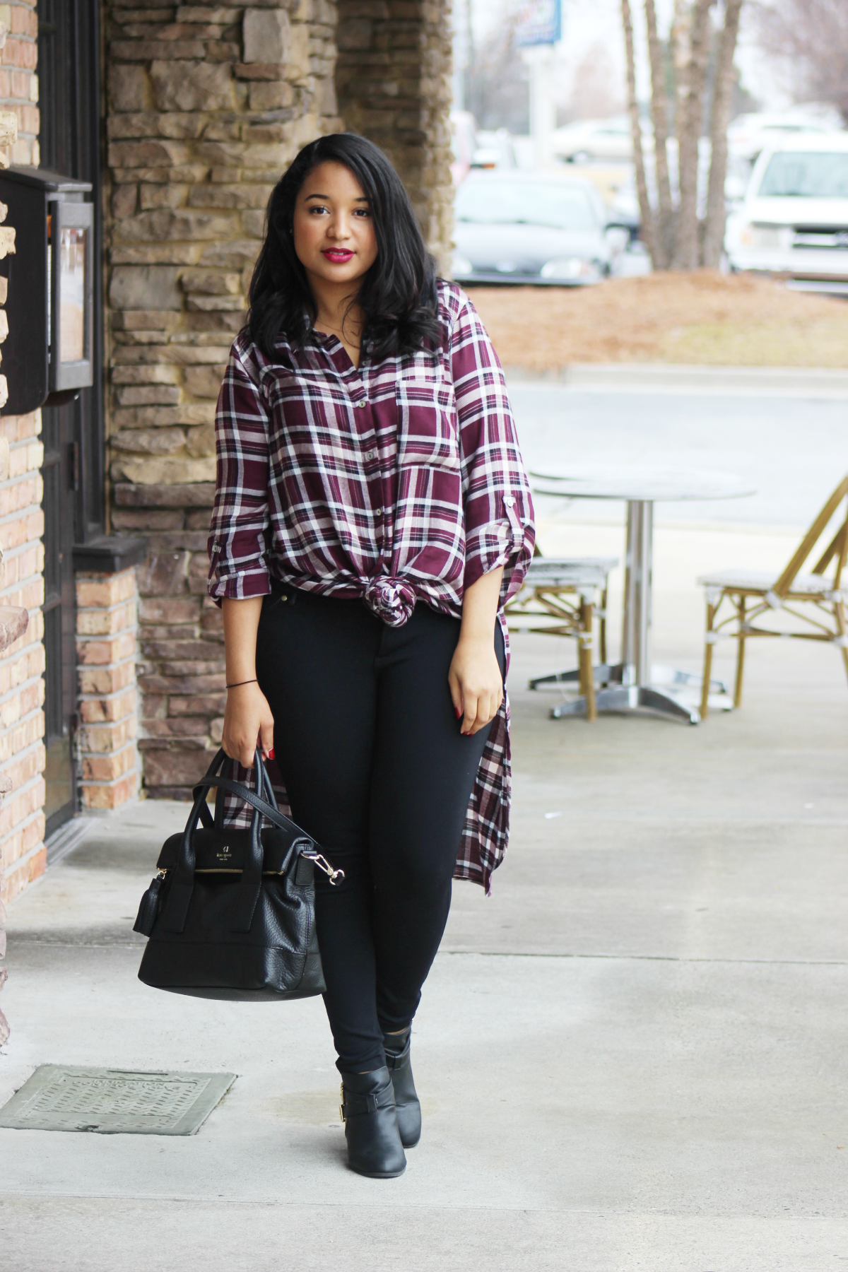 Knotted Plaid Tunic