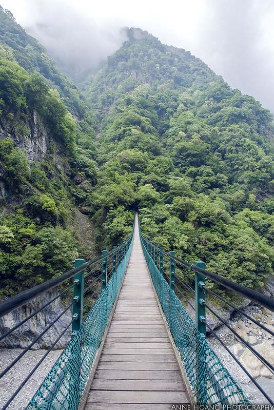 Suspension bridge on Zhuilu Old trail Taroko Gorge