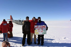 (L to R): Murat Aydin, T.J. Fudge and Mindy Nicewonger in front of a U.S. Air Force LC-130 Hercules