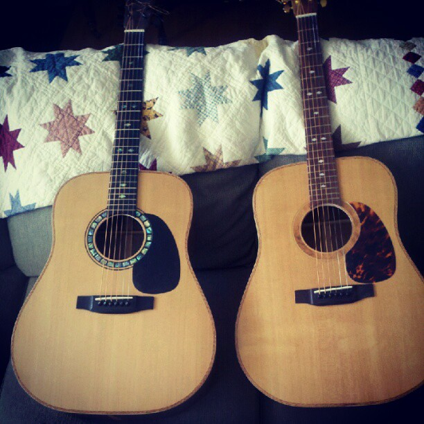 Dad's handmade guitars.