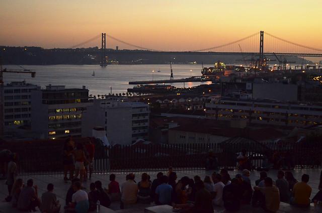 Sunset Scene, Miradouro de Santa Canterina, Lisbon, Portugal