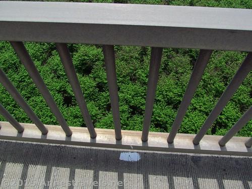 A white mark on the I-80 Bridge along the Appalachian Trail near the Pennsylvania / New Jersey Border, Delaware Water Gap National Recreation Area, Pennsylvania