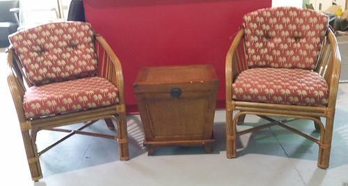 Rattan Chairs and table $275