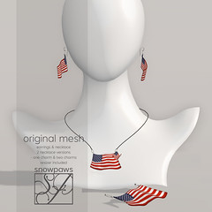 Snowpaws - American Flag Earrings & Necklace Charm Set