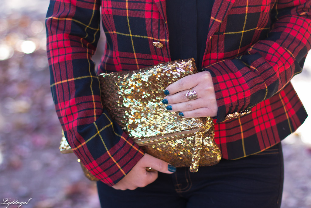 plaid blazer, flared jeans, sequined clutch-7.jpg