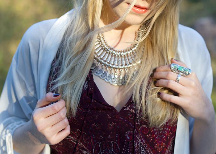Stag Print Kimono Cream Fringe Tassels Paisley StyleMoi Forever21