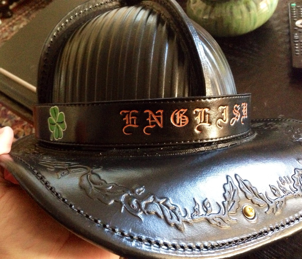 Custom Leather Helmet Band on a Phenix TL-2 Miller helmet
