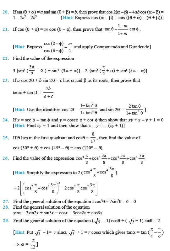 Class 11 Important Questions for Maths – Trigonometric