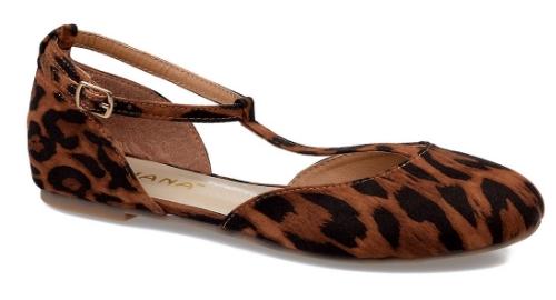 Brown Leopard Print T-Strap Mendel Flats