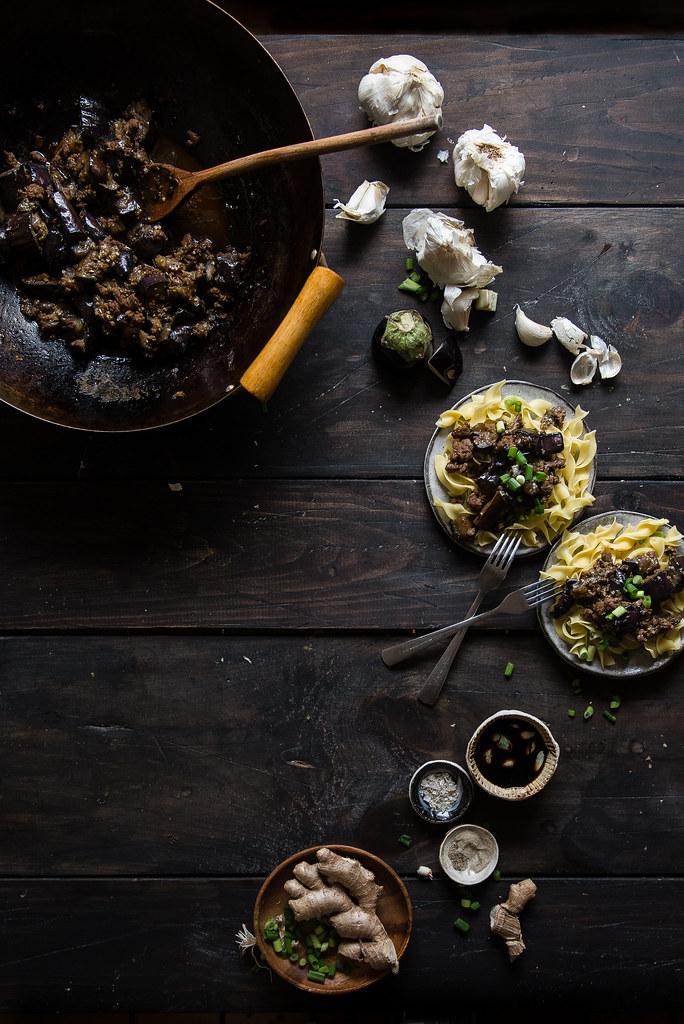 spicy garlic eggplant & ground pork noodles - Two Red Bowls