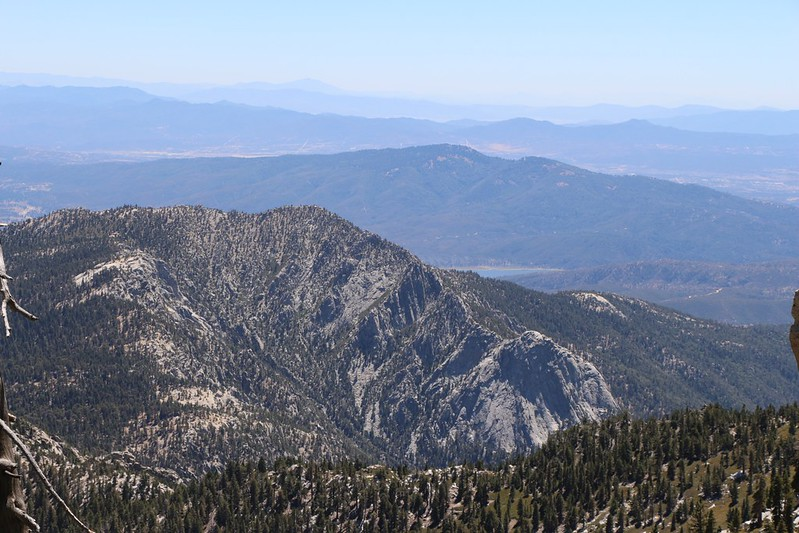 Zoomed-in view southwest to Tahquitz and Lily Rock from Shirley Peak Saddle