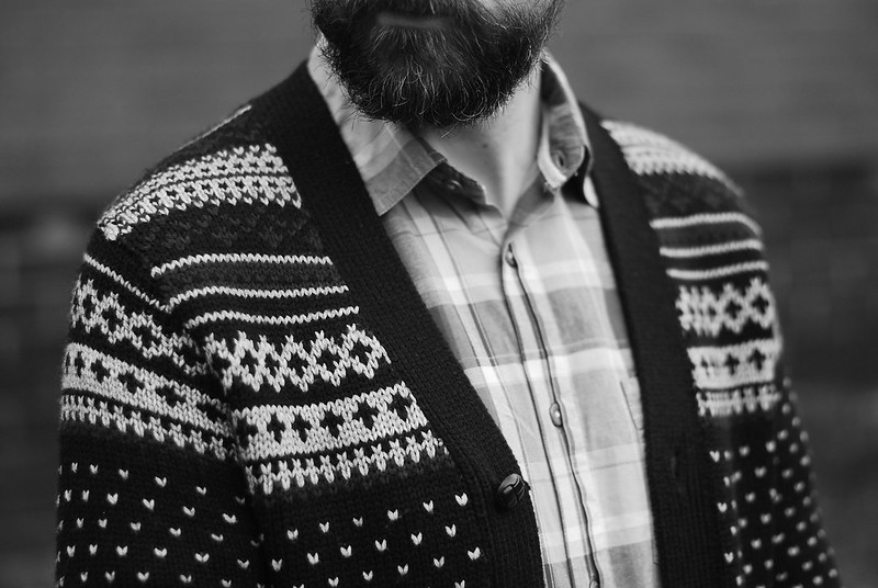 Menswear: Fair Isle cardigan, check shirt