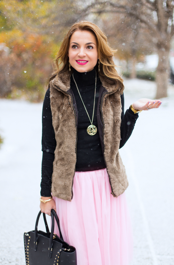 Winter layers + tulle skirt + boots