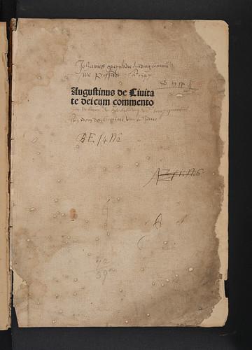 Title-page with ownership inscriptions in Augustinus, Aurelius: De civitate dei