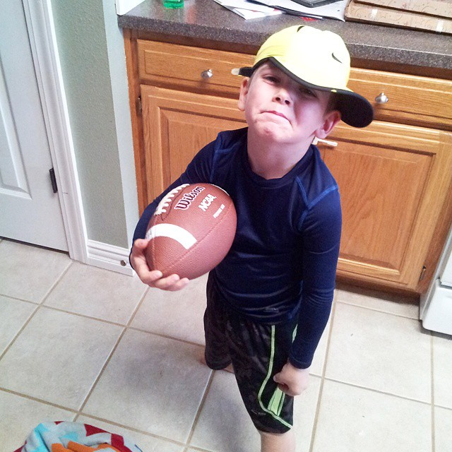 """Brayden said """"mom. Take my picture like this because I am SO handsome like this. Then, send this to Daddy, Poppa D, Gigi, Aunt Megan, Aunt Laura and her husband Uncle Jacob and Uncle Mike. They need to see this.""""  He lacks no ounce of confidence.  Also: p"""