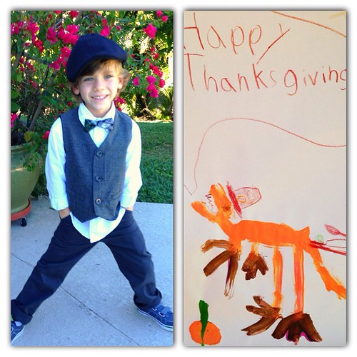 Happy Thanksgiving from me, Finn, and, of course, a dinosaur in a Pilgrim hat.