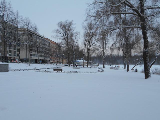 Talvinen maisema Ystävyydenpuistossa 25.12.2014 Hämeenlinna