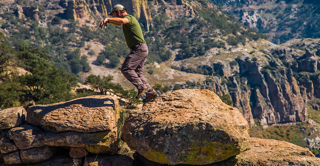 2014 - Copper Canyon - The Rob Balancing Rock Leap at Urique Canyon