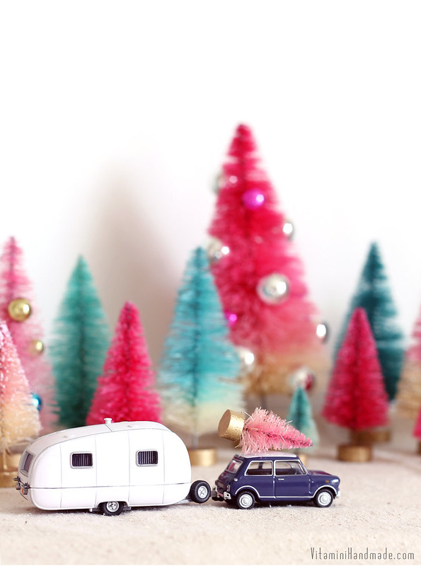 DIY Dip Dyed Bottle Brush Trees | www.vitaminihandmade.com