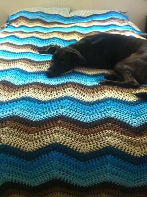 blue ombre brown ombre chevron crochet blanket