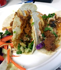 Bumper Crop jalapeño pork tacos with painted desert slaw and chile lime creama. Mmmmm. #foodtruck #Boulder