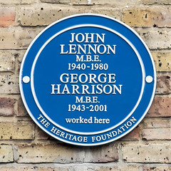 Photo of John Lennon and George Harrison blue plaque
