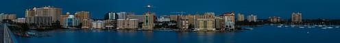 bridge panorama skyline sailboat bay cityscape unitedstates florida crane extreme fav20 sarasota balance bluehour fav30 balanced afterglow postsunset fav10 fullmoonrise throughclouds extremepanorama nikond800e nikkor80400mmafsed horizontalarmbalance
