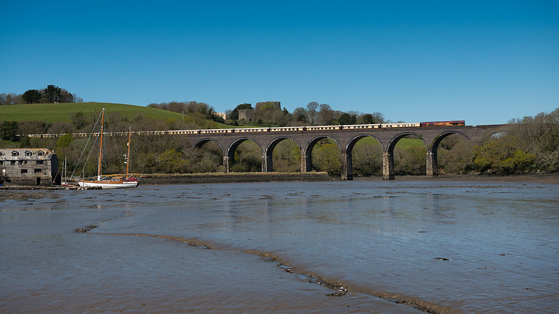 Barry_Jones_160423_66027 (T T 67005 67006), Forder Viaduct near Saltash (1Z80 1231 Plymouth to St Austell), 23 Apr 2016 (1)