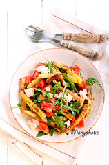 Zucchini, chicken, tomato and rocket salad