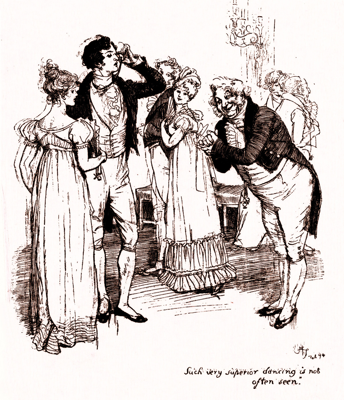 """Such very superior dancing is not often seen"", original illustration by Hugh Thomson (1860-1920) for Pride and Prejudice by Jane Austen, 1894"