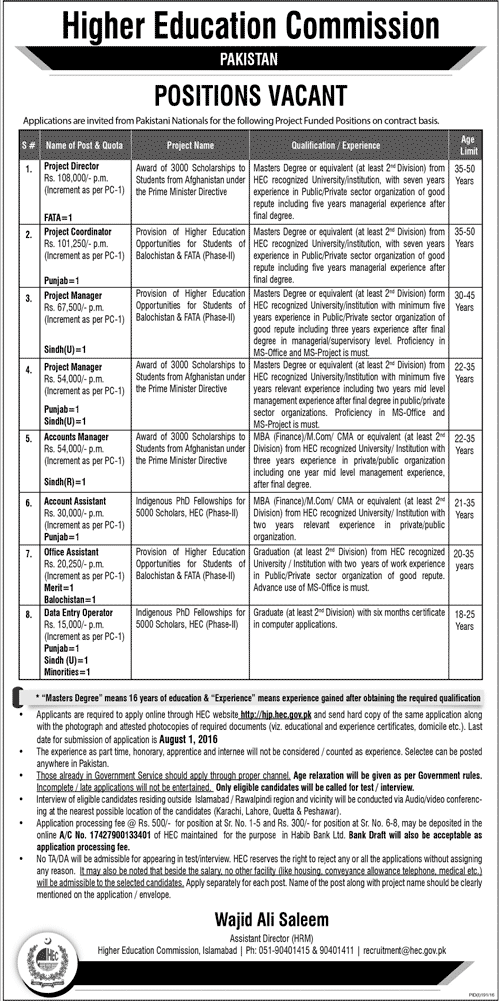 Higher Education Commission HEC Jobs Project Finded Positions