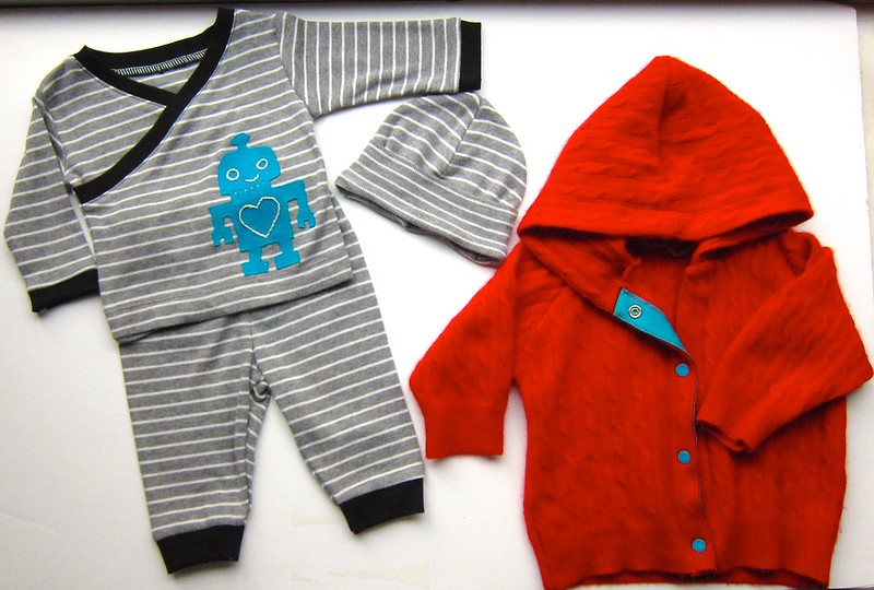 Baby kimono top set with blue robot appliqué and red cashmere baby hoodie