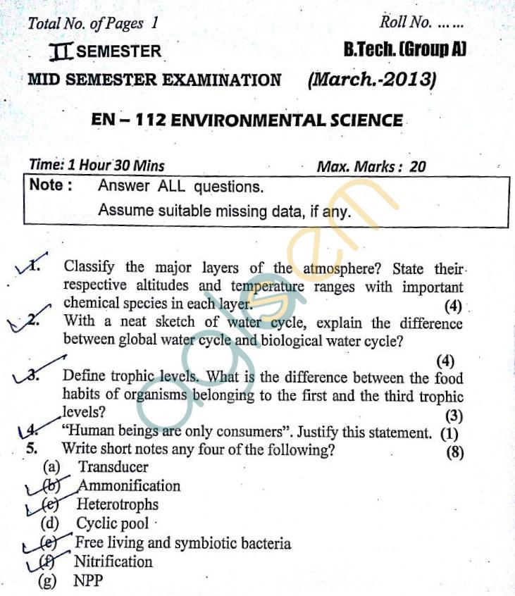 DTU: Question Papers 2013 – 2 Semester - Mid Sem - EN-112