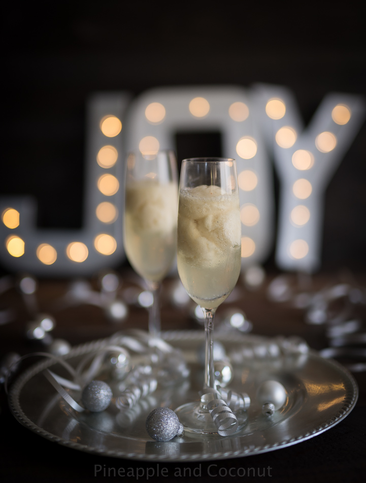 New Year's Eve St Germain Pear Sorbet Champagne Cocktail www.pineappleandcoconut.com